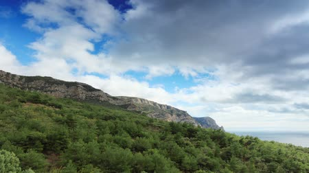 horizont : 4K. Movement of the clouds on the mountain bay Aya. Crimea, Ukraine (TimeLapse) FULL HD, 4096x2304.