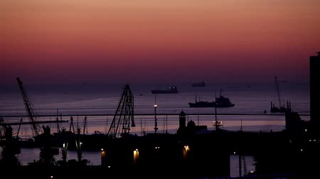 fishing industry : sunrise in the harbor of Odessa, Ukraine