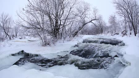 neve : Winter scenic of the River Krynka, Donetsk region, Ukraine. Full HD Vídeos