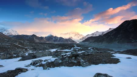peak : Timelapse sunrise in the mountains Cho Oyu, Himalayas, Nepal. FULL HD Stock Footage