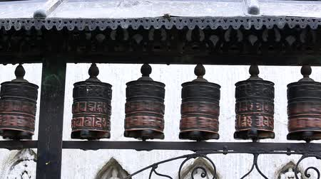hacı : Buddhist prayer wheels. Swayambhunath Stupa, Kathmandu, Nepal, Full HD