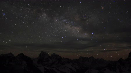 dark sky : Time lapse of the night sky with clouds and stars passing by behind mountains Everest, Lhotse and Makalu from Gokyo Ri. Nepal, Full HD Stock Footage