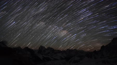 startrails : Time lapse of the night sky with clouds and stars passing by behind mountains Everest, Lhotse and Makalu from Gokyo Ri. Nepal, Full HD Stock Footage