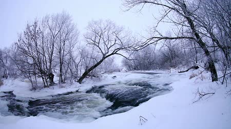 Украина : Winter scenic of the River Krynka, Donetsk region, Novorossia. Full HD