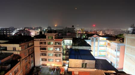 startrails : Buildings with flats at night, timelapse. Kathmandu. Nepal, Full HD