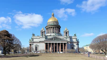 st isaac's cathedral : RUSSIA, ST. PETERSBURG - MARCH, 2015: Movement of clouds over St. Isaacs Cathedral in St. Petersburg on march 2015, Russia. Full HD