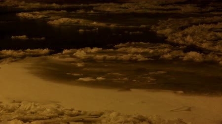 old times : Ice drift on the river Neva, night in St. Petersburg, Russia. Full HD