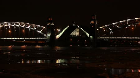 divórcio : Night view of Opening Bolsheokhtinsky bridge in St. Petersburg, Russia. Full HD