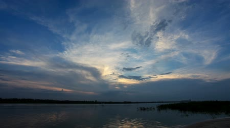 volga region : Sunset over the Tsimlyansk reservoir. Volgodonsk, Rostov region, Russia, Full HD Stock Footage