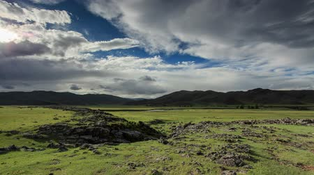 moğolistan : Clouds over the valley of the  Ulaan river, Mongolia. Full HD