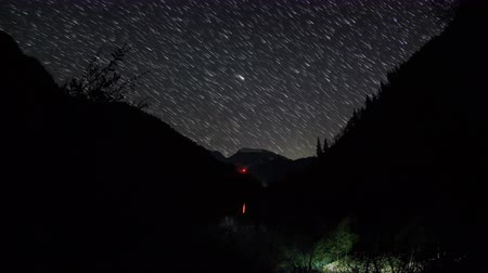 startrails : 4K. Movement of the stars in the valley of the river Aapsta, Abkhazia. Ultra HD. 4096x2304