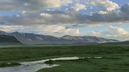 moğolistan : Clouds over the valley of the Tolbo, Mongolia. Full HD. Stok Video