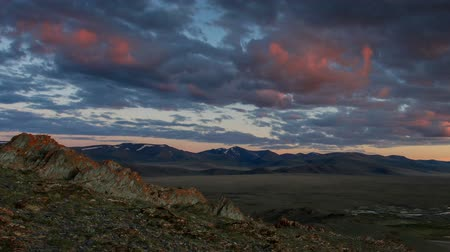 moğolistan : Sunrise in the mountains of Mongolian Altai, Mongolia. Full HD. Stok Video