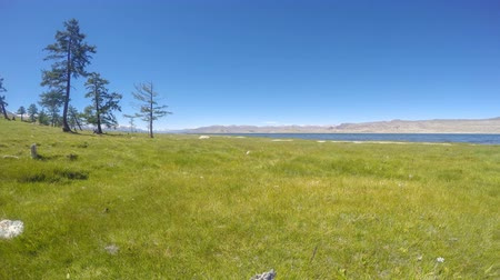 moğolistan : Movement of the clouds over the lake Khoton Nuur, Mongolia. Full HD.
