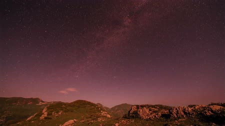 perseids : Movement of the stars in the valley of the Seven Lakes, Abkhazia. Full HD. Stock Footage
