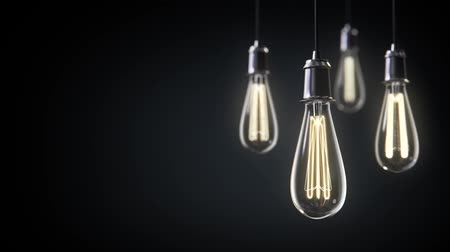light : Group of vintage bulb lights 3d animation. Lights is turned on.