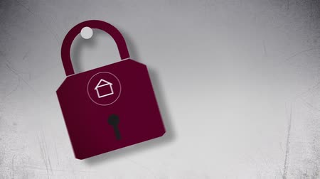 cadarço : Abstract lock with house symbol flat animation. Stock Footage