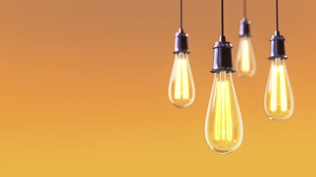 light : Group of vintage bulb lights 3d animation on orange background