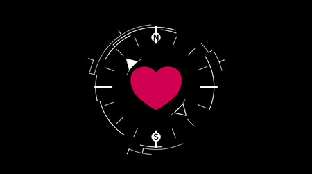 путешествие : Abstract compass symbol flat animation with red heart on dark background