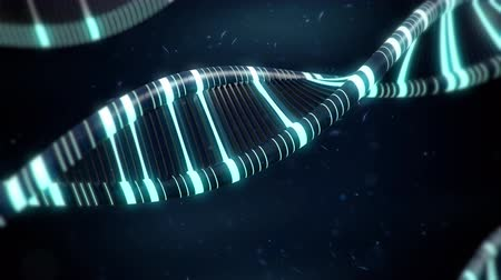 оказывать : Blue DNA with glow effects slow animation. 3d render animation.