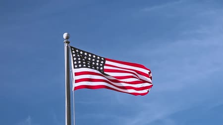 listras : USA flag flying on the wind on blue sky background Stock Footage