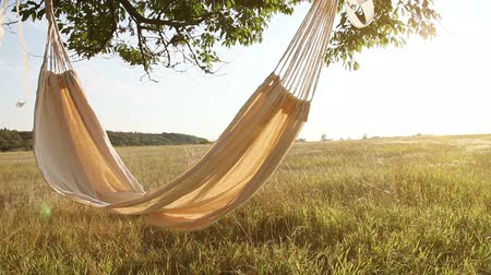 гамак : Hammock swinging on the wind at sunset Стоковые видеозаписи