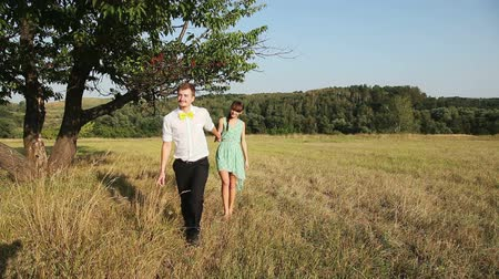 genç çift : Young couple walking on the yellow grass Stok Video