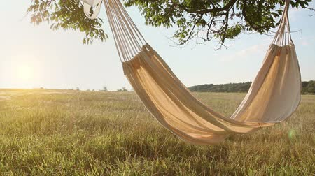 lonely : Hammock swinging on the wind at sunset Stock Footage
