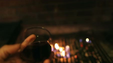 hot wine : Barbecue with fire and glass of wine