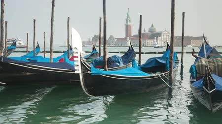 veneza : Venetian gondolas tied near the pier on San Marco square, Venice, Italy
