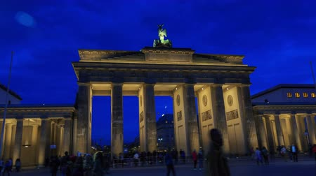 berlin skyline : Brandenburg gates in Berlin with crowd and urban transport