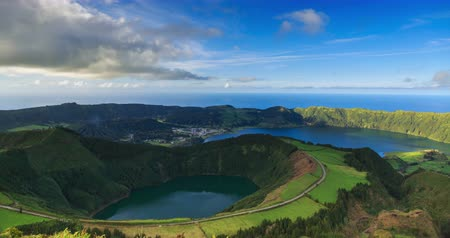 sete : Lagoa de Santiago and Lagoa Azul on San Miguel island of Azores, timelapse Stock Footage