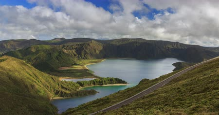 sao miguel : Lagoa do Fogo and green valley on San Miguel island of Azores, timelapse