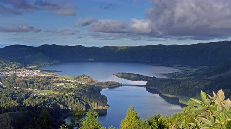 azul : Lagoa Verde and Lagoa Azul on San Miguel island of Azores, timelapse