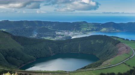 azul : Lagoa de Santiago and Lagoa Azul on San Miguel island of Azores, timelapse Stock Footage