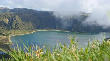 sao miguel : Lagoa do Fogo and green valley on San Miguel island of Azores