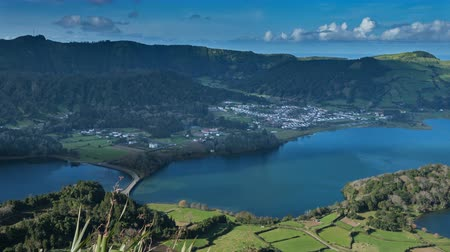 sete : Lagoa Verde and Lagoa Azul on San Miguel island of Azores, timelapse