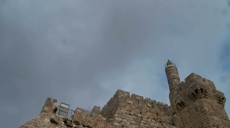 jeruzalém : Clouds Time Lapse over the old city of Jerusalem, Israel