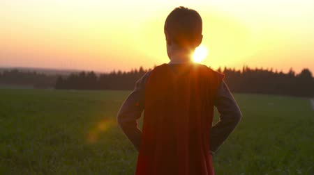 kahraman : Boy dressed in a superman cape in a field during sunset Stok Video