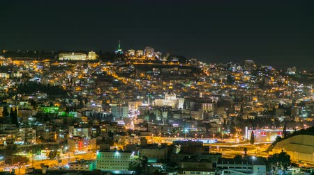 annunciation : Night Time Lapse of the city of Nazareth Stock Footage