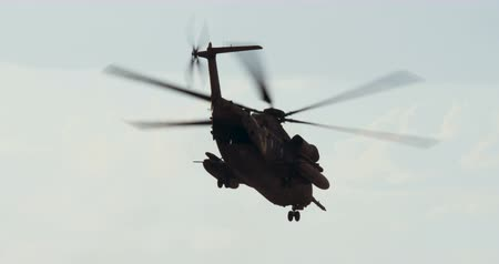 idf : CH-53 helicopter flying in a demonstration during an airshow Stock Footage