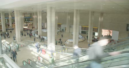tourist silhouette : People in airport terminal with luggage Stock Footage