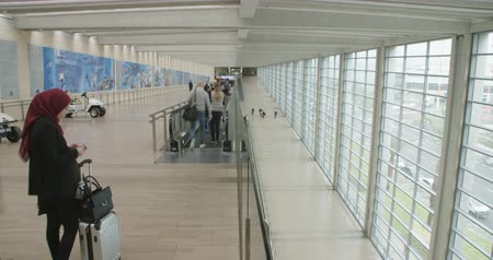 bavul : Timelapse of passengers going through a large airport terminal hall