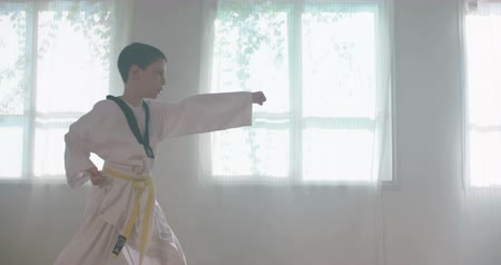 quimono : Slow motion footage of a young boy practicing martial arts Vídeos