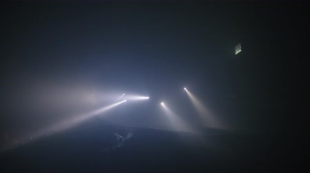 el feneri : Rescue forces search for survivers inside a dark tunnel using flashlights Stok Video
