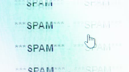 excluir : Scrolling in an email inbox full of spam messeges Stock Footage