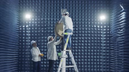 idf : Beit Shean, November 20 2018. Scientists Testing a Radar in an anechoic chamber