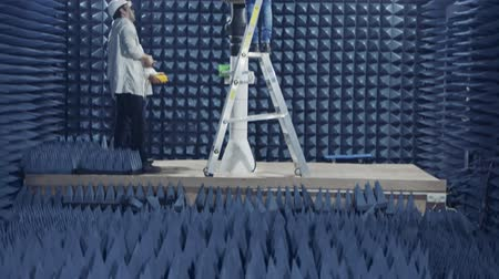 roka : Beit Shean, November 20 2018. Scientists Testing a Radar in an anechoic chamber