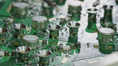 tranzistor : Close up of manual soldering of a large circuit board