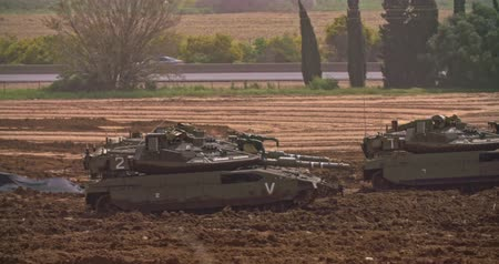 cease fire : Gaza, March 30, 2019. IDF tanks lined up in combat formation near the border